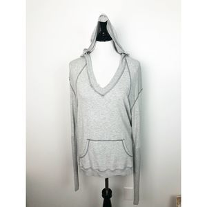 Feel The Piece Deep V Gray Lounge Hoodie Pull Over